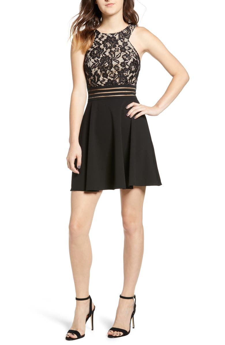 SPEECHLESS Lace Fit & Flare Dress, Main, color, 001