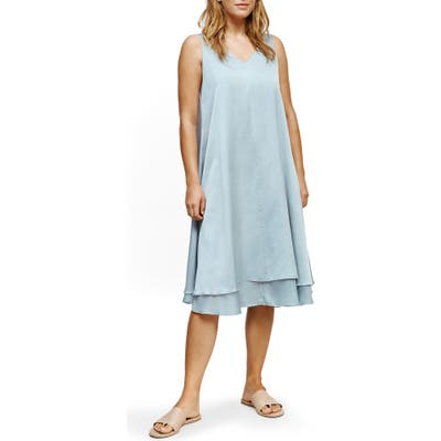Eileen Fisher V-Neck Tiered Silk & Organic Cotton Dress, Blue