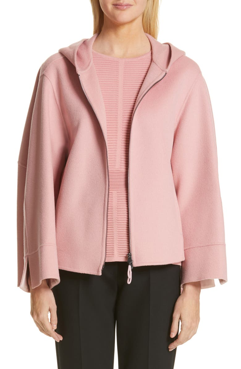 EMPORIO ARMANI Hooded Double Face Cashmere Jacket, Main, color, ROSE