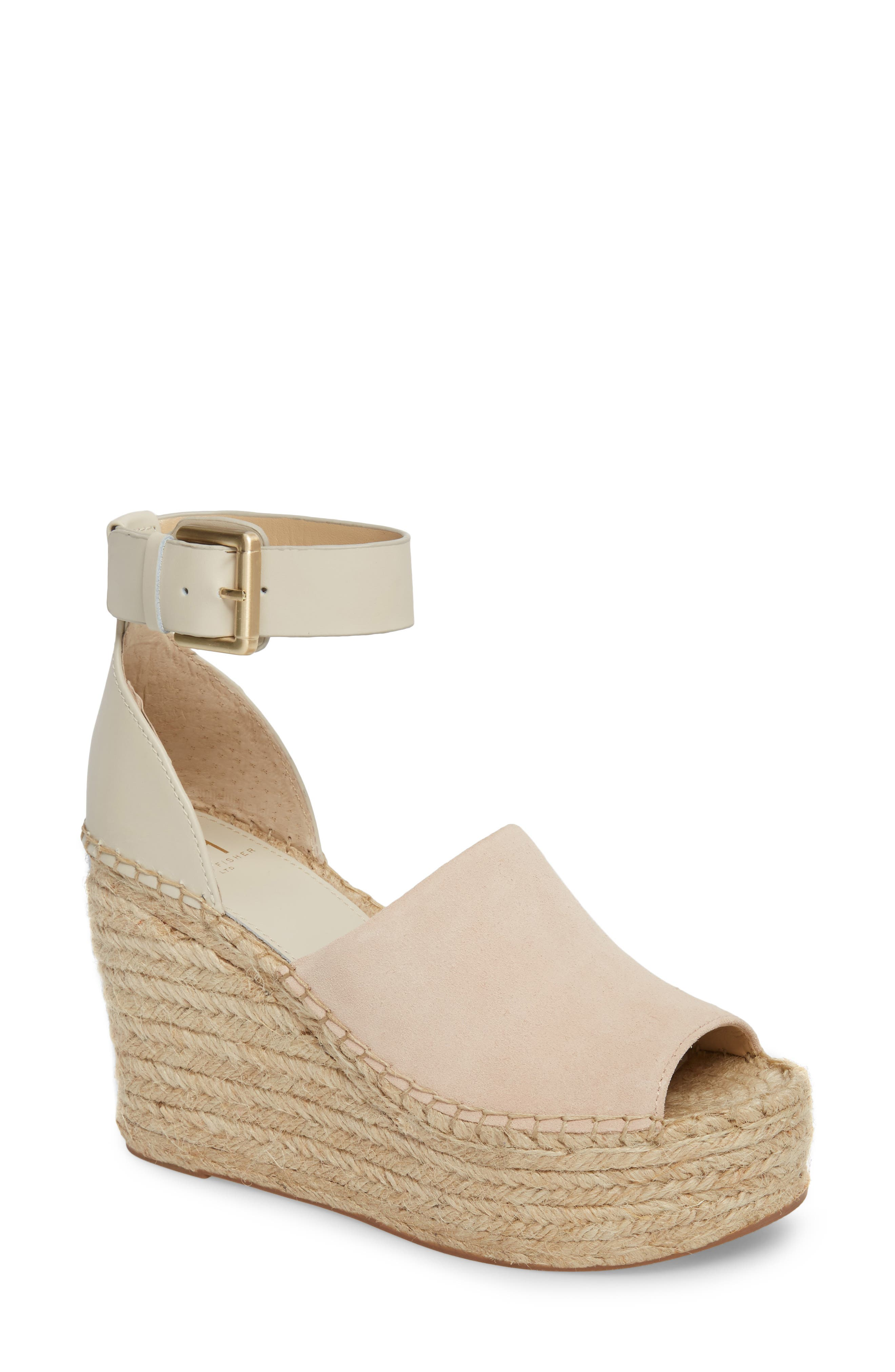 ,                             Adalyn Espadrille Wedge Sandal,                             Main thumbnail 1, color,                             IVORY SUEDE