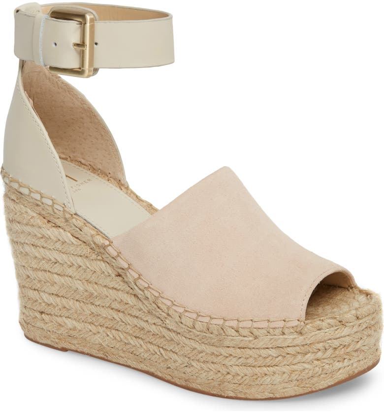 MARC FISHER LTD Adalyn Espadrille Wedge Sandal, Main, color, IVORY SUEDE