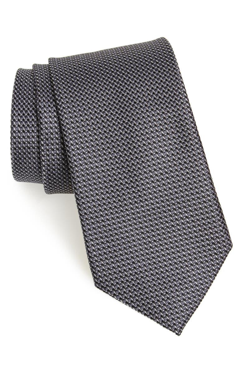 NORDSTROM MEN'S SHOP Russo Geo Print Silk Tie, Main, color, BLACK