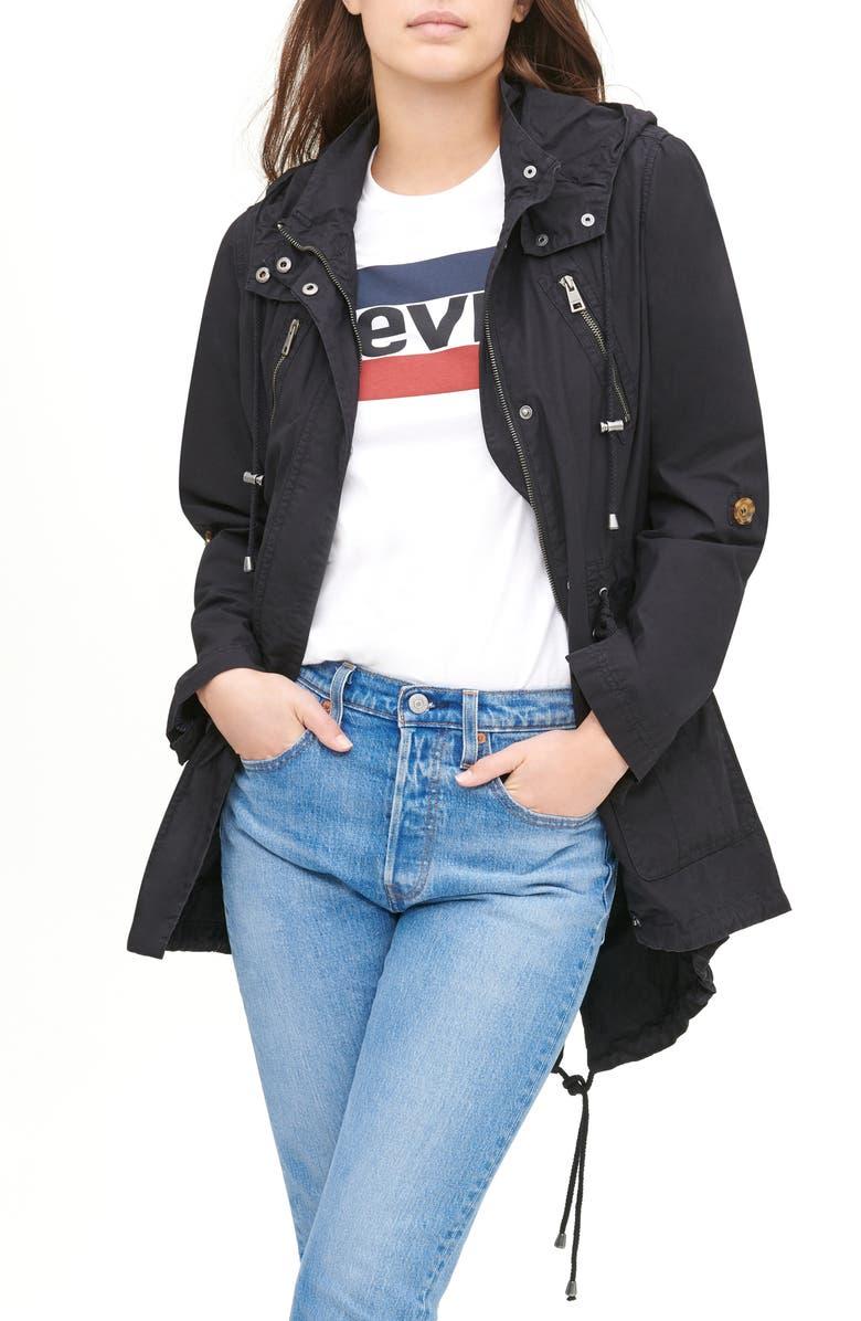 LEVI'S<SUP>®</SUP> Parachute Hooded Cotton Utility Jacket, Main, color, 001