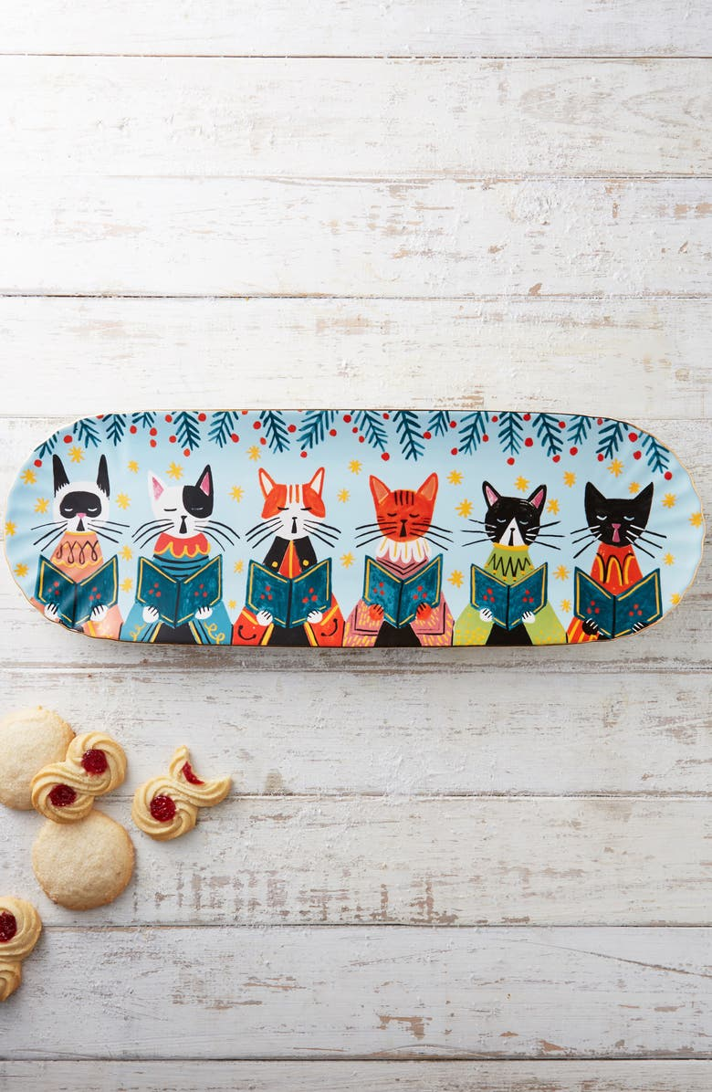 ANTHROPOLOGIE Quill & Fox Holiday Platter, Main, color, BLUE