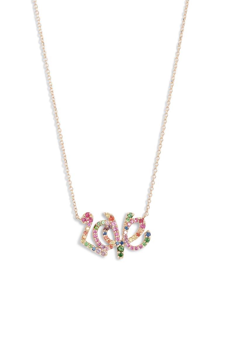 ANZIE Rainbow Love Script Pendant Necklace, Main, color, GOLD/ MULTI