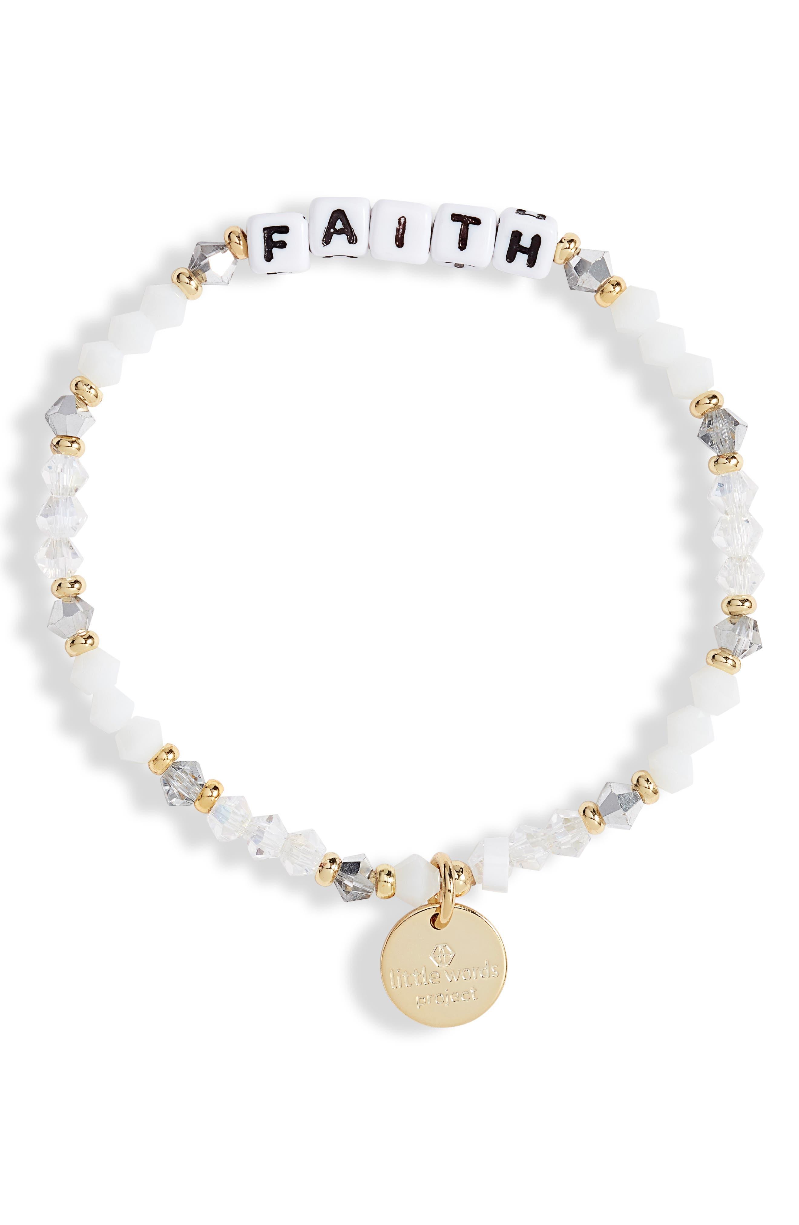 Faith Beaded Stretch Bracelet