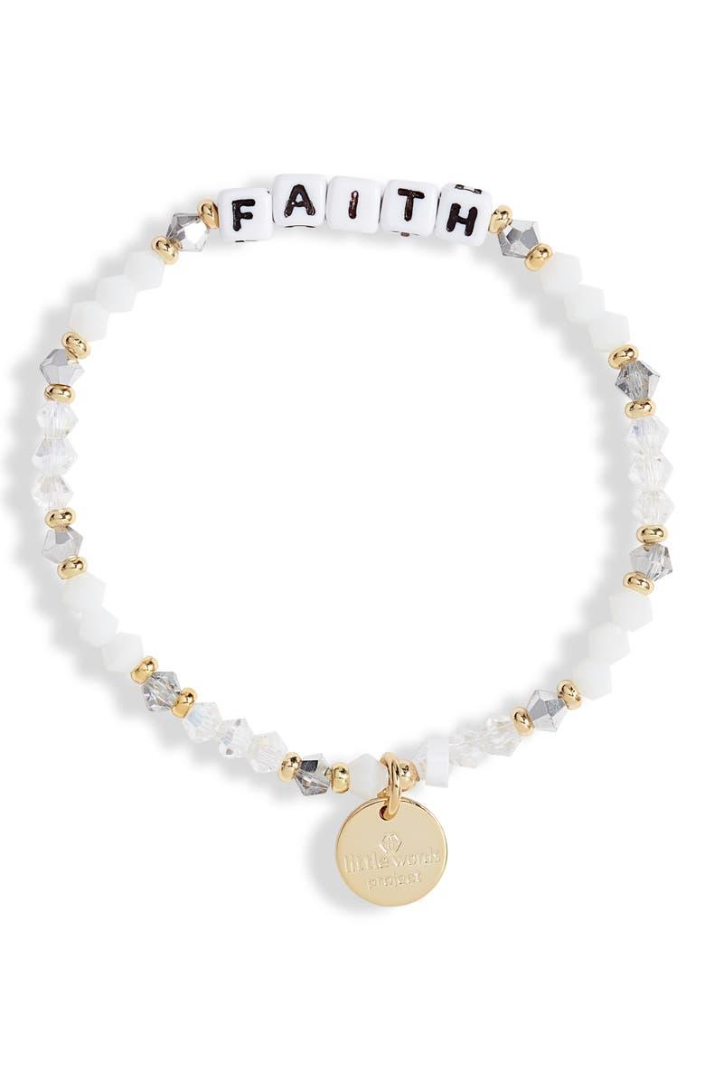 LITTLE WORDS PROJECT Faith Beaded Stretch Bracelet, Main, color, WHITE/ WHITE