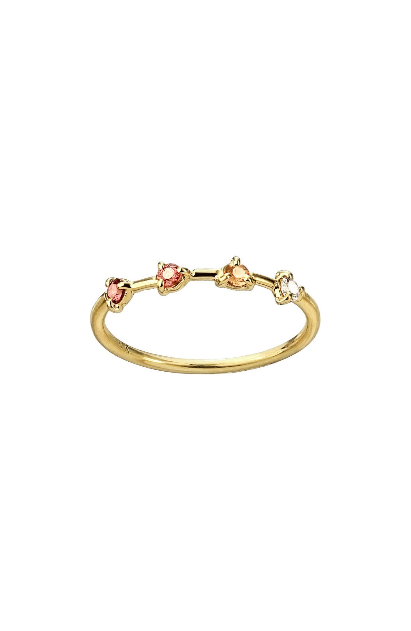 Counting Collection Four-Step Pink Tourmaline, Sunstone & White Diamond Ring, Main, color, PINK TOURMALINE WHITE