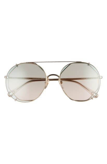Chloé 57MM OCTAGONAL SUNGLASSES WITH CLIP-ON AVIATOR LENSES