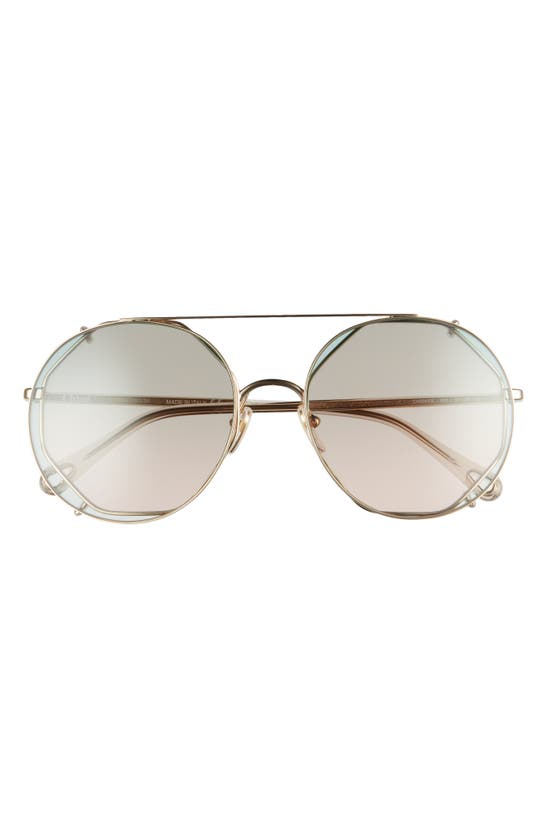 CHLOÉ Sunglasses 57MM OCTAGONAL SUNGLASSES WITH CLIP-ON AVIATOR LENSES