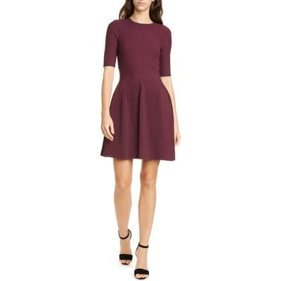Ted Baker London Renyina Tipped Sweater Skater Dress, (fits like 0-2 US) - Purple