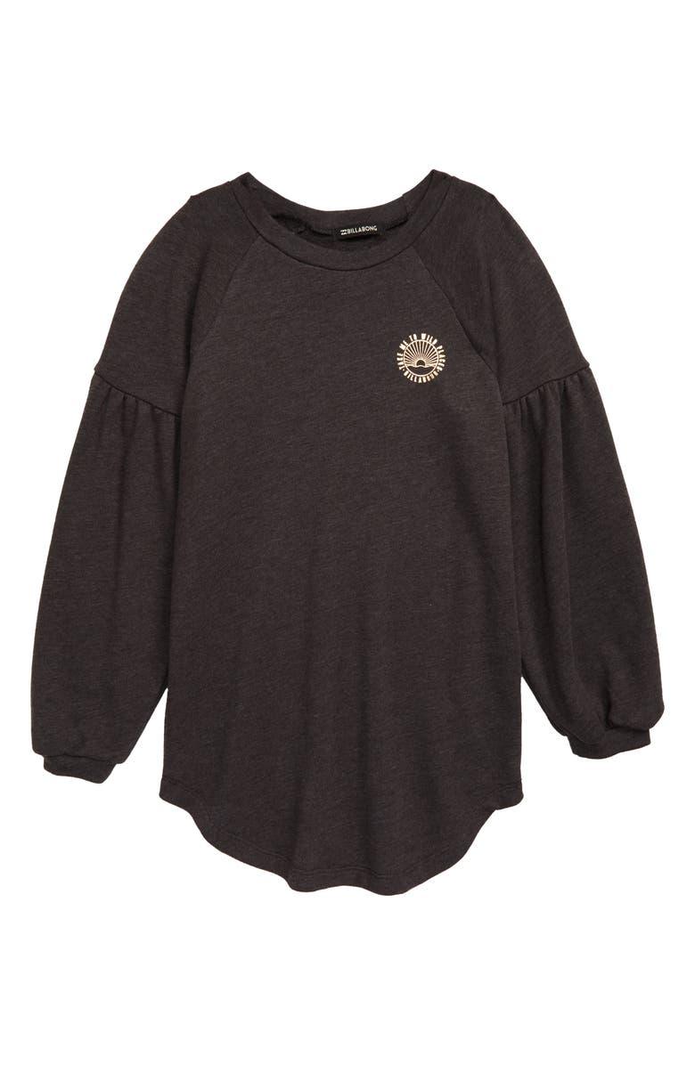 BILLABONG Full Bloom Long Sleeve T-Shirt Dress, Main, color, BLACK