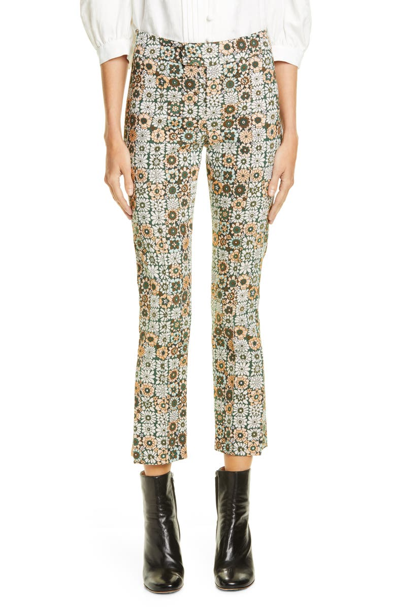 SMYTHE Stovepipe Floral Jacquard Pants, Main, color, GRAPHIC FLORAL