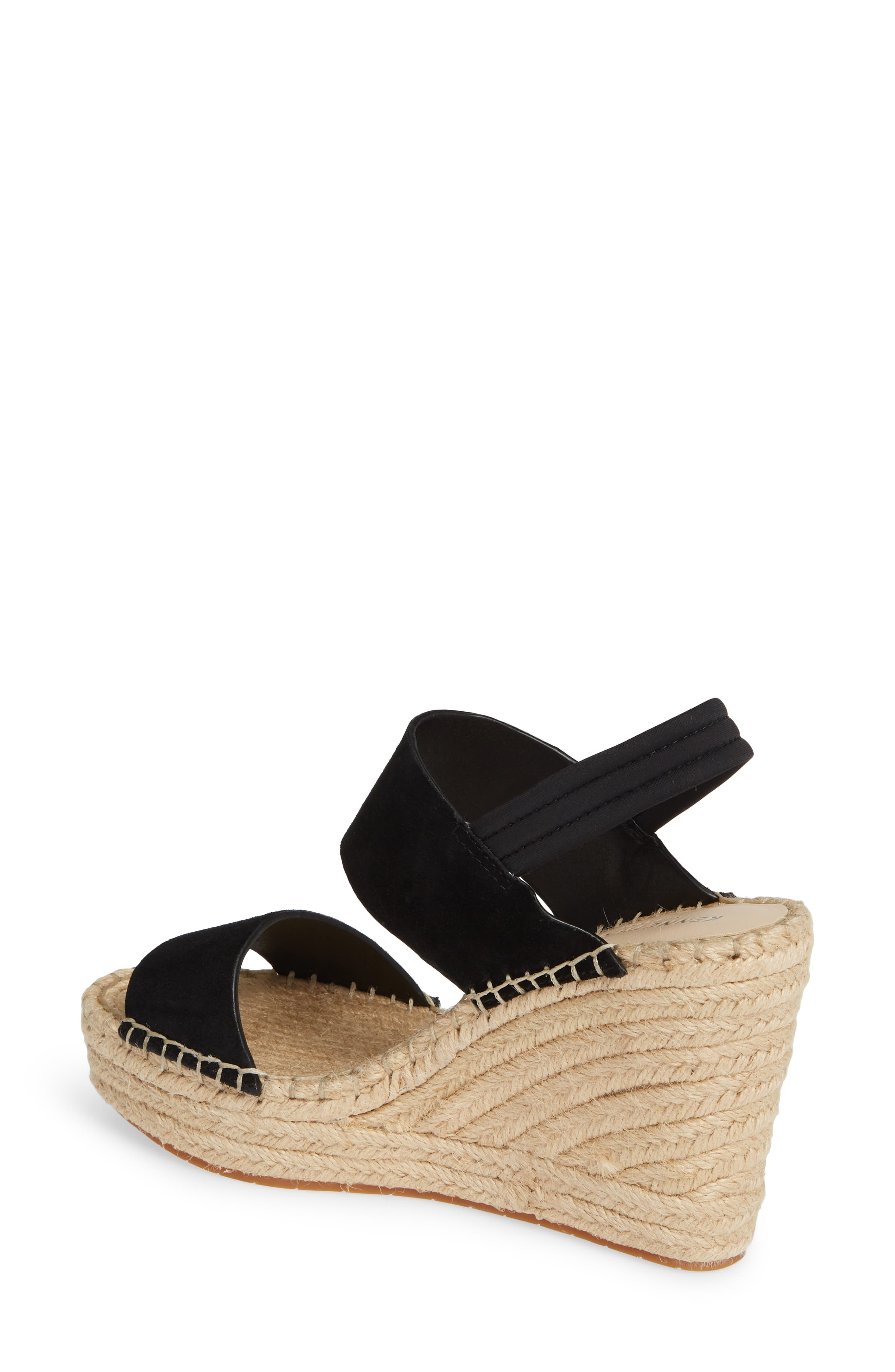 ,                             Olivia Simple Platform Wedge Sandal,                             Alternate thumbnail 2, color,                             BLACK SUEDE