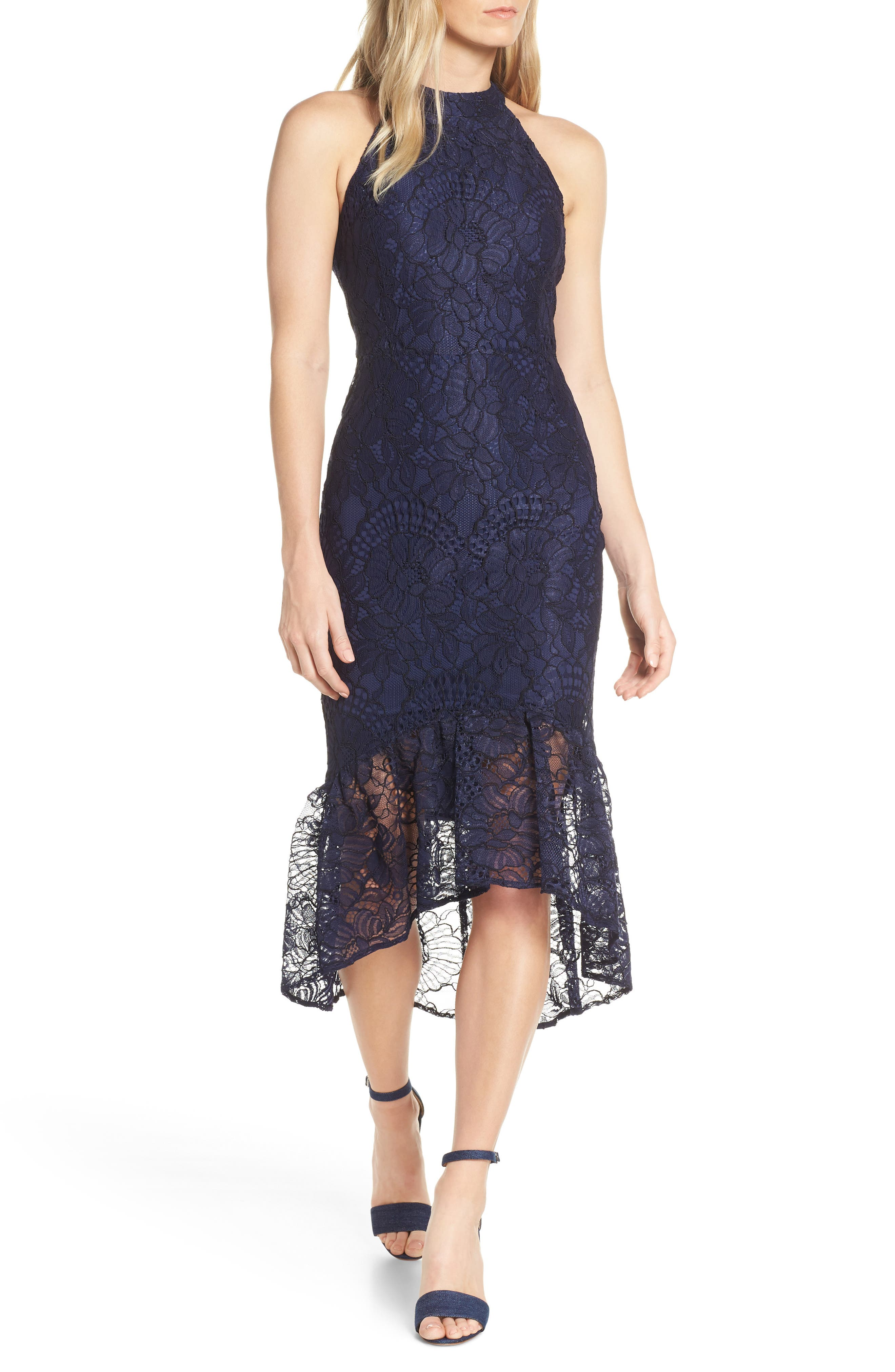 Forest Lily Lace Halter High/low Dress, Blue