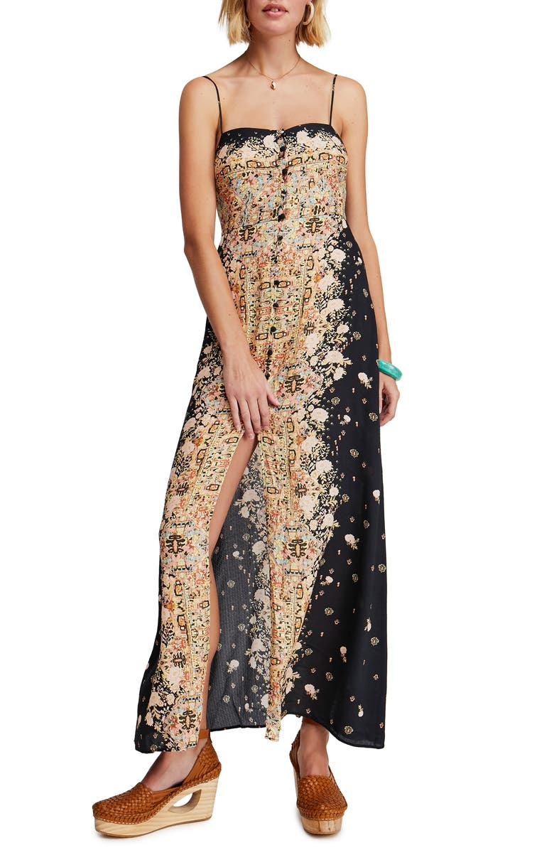 FREE PEOPLE Morning Song Print Maxi Dress, Main, color, BLACK