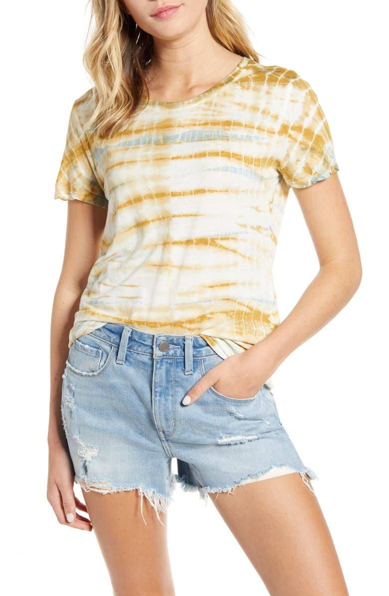 TREASURE & BOND Tie Dye Tee, Main, color, OLIVE BREEN- BLUE TIE DYE