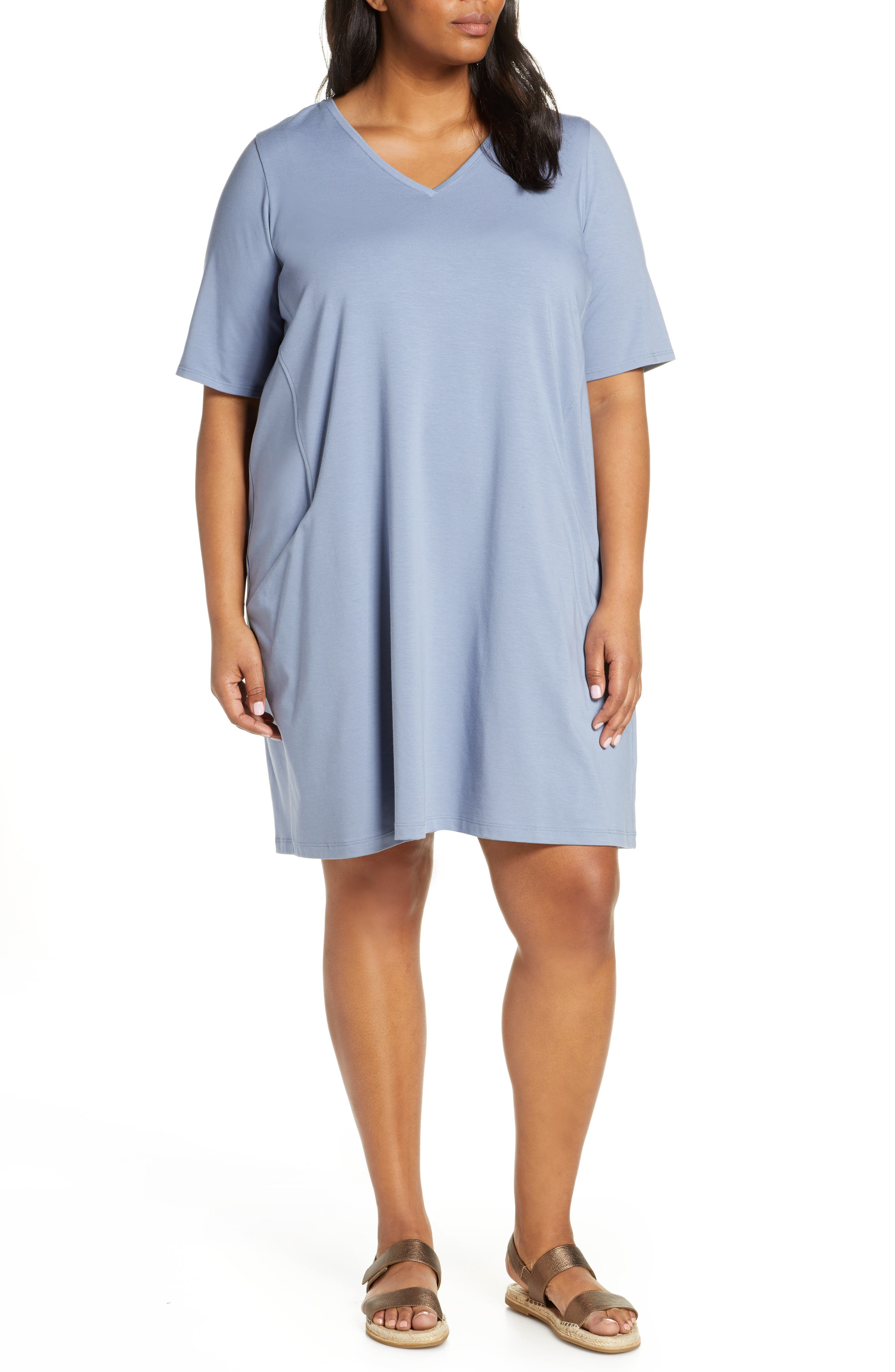 Plus Size Eileen Fisher Organic Cotton Jersey Shift Dress, Blue