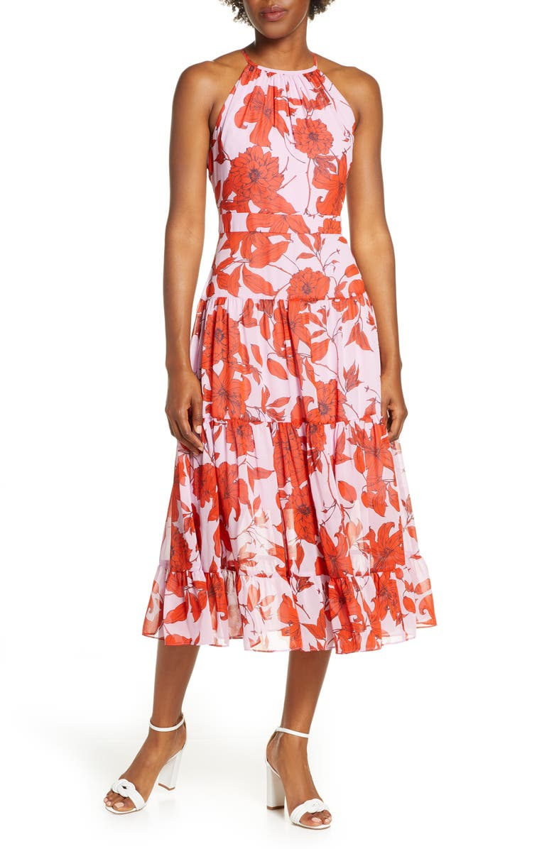 ELIZA J Floral High Neck Tiered Chiffon Midi Dress, Main, color, LILAC