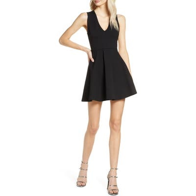 Lulus Going Steady Backless Skater Dress, Black