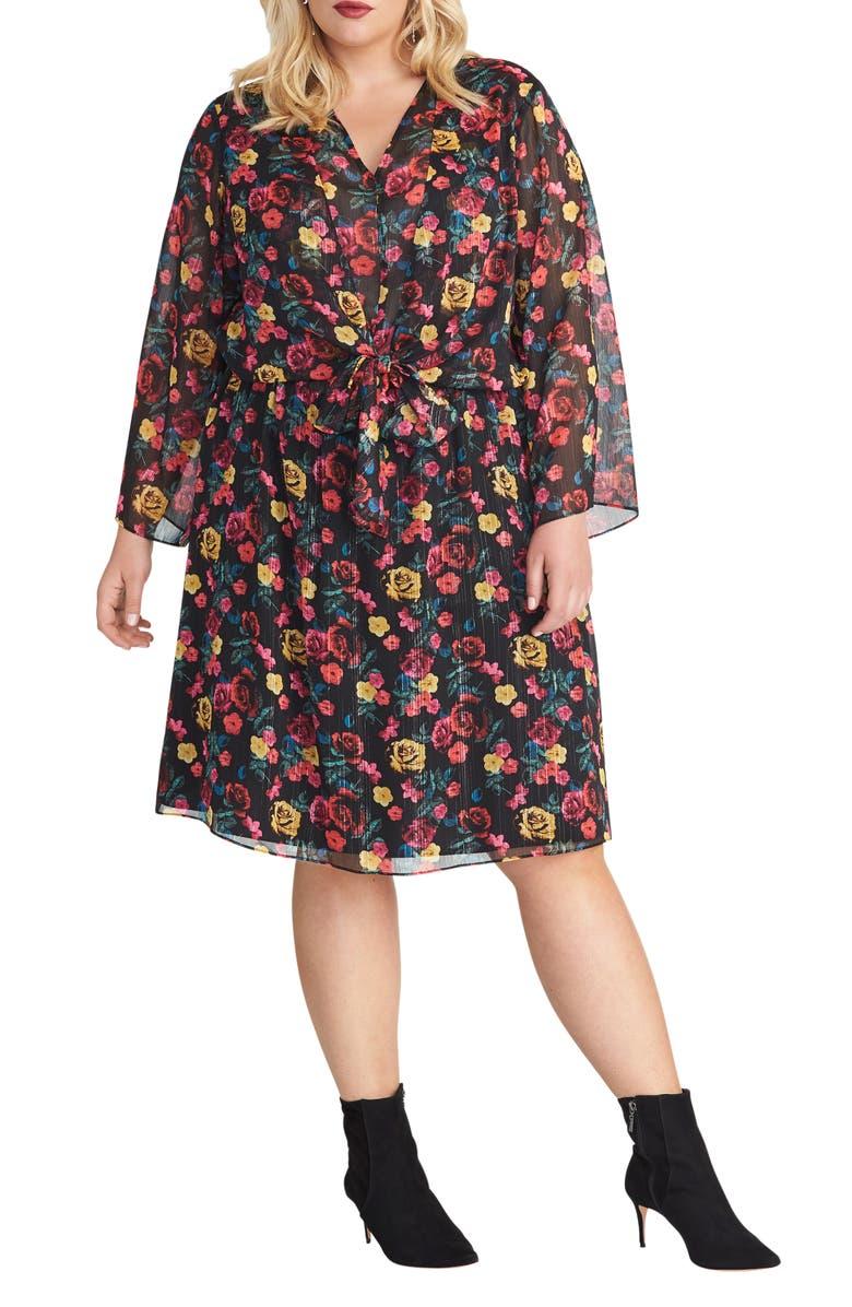 RACHEL RACHEL ROY Emma Floral Print Long Sleeve Dress, Main, color, BLACK MULTI COMBO