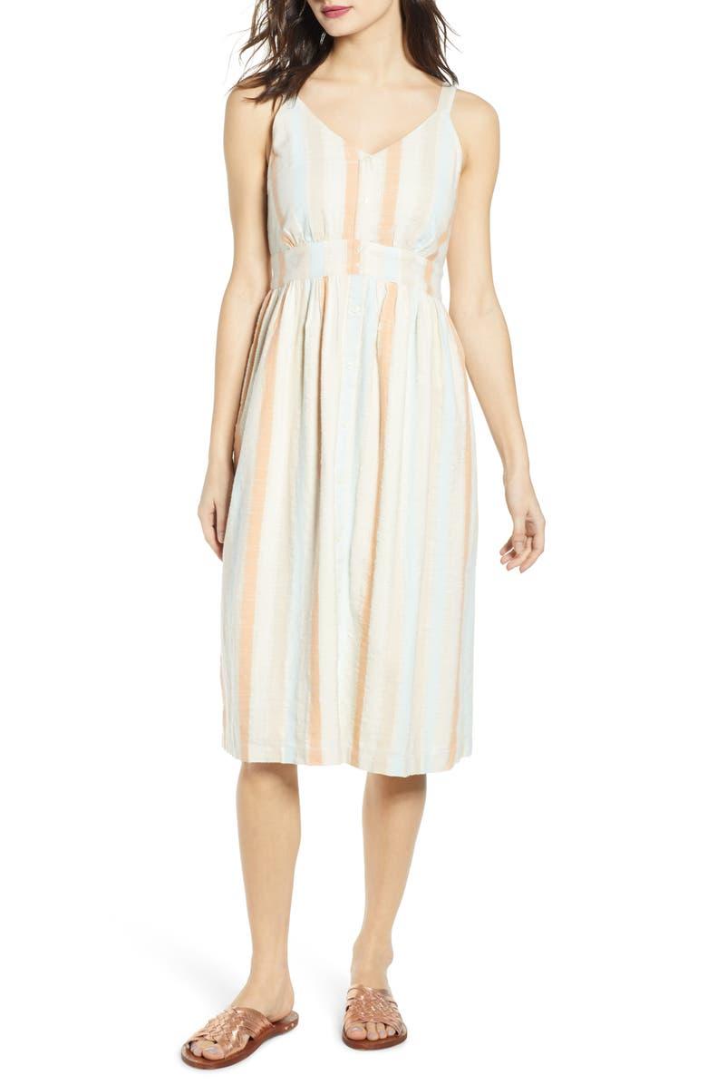 BP. Button Front Stripe Dress, Main, color, CORAL WASH TEXTURE STRIPE