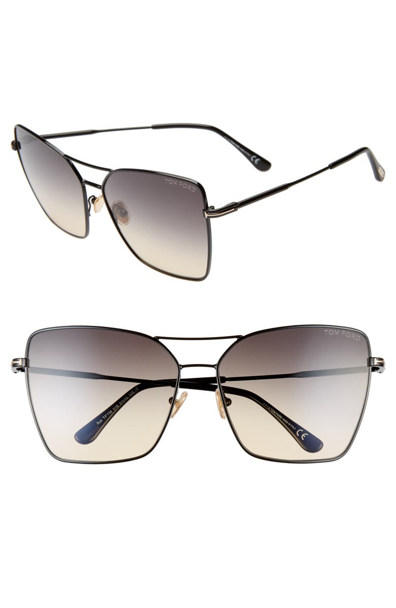 TOM FORD Sye 61mm Butterfly Aviator Sunglasses, Main, color, SHINY BLACK/ GRADIENT SMOKE