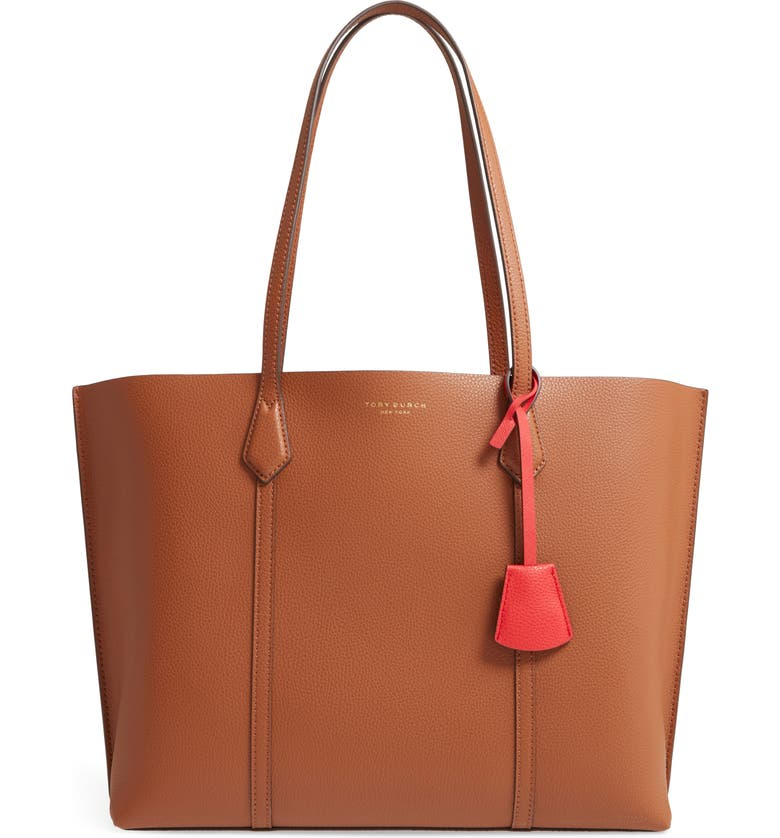 TORY BURCH Perry Leather Tote, Main, color, LIGHT UMBER