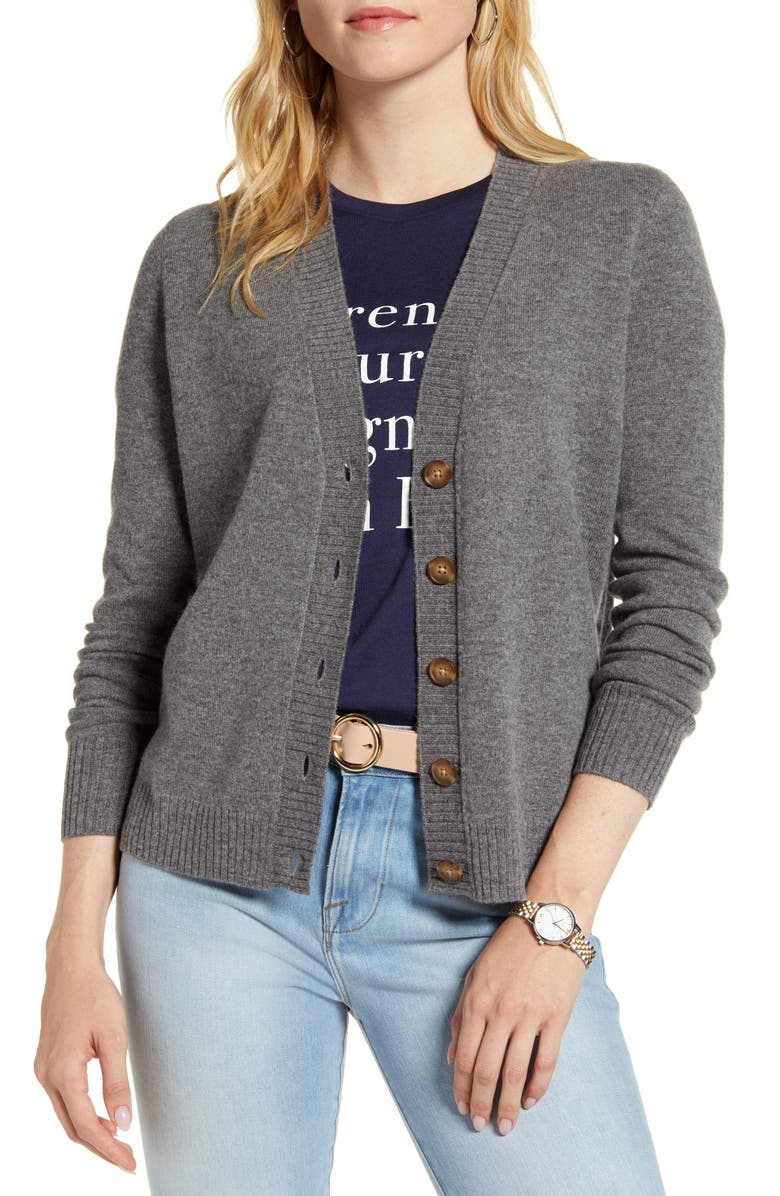 1901 Wool & Cashmere Cardigan, Main, color, GREY DARK HEATHER