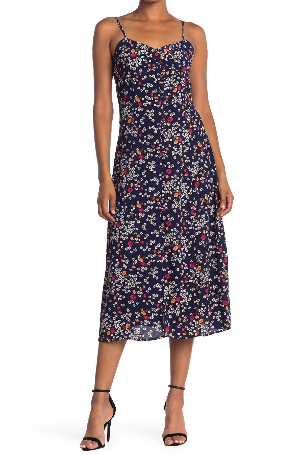 Image of HYFVE Floral Print Button Down Midi Dress