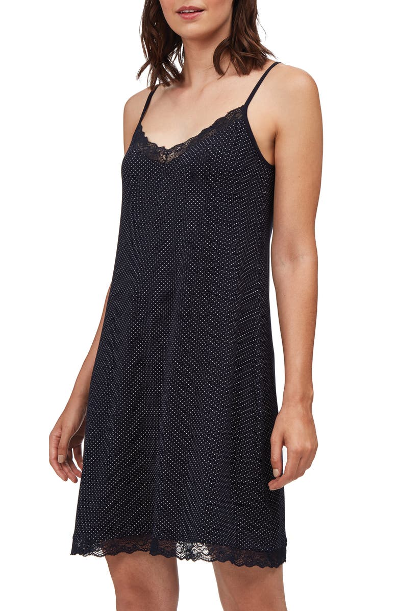 THE WHITE COMPANY Lace Trim Dot Chemise, Main, color, MIDNIGHT / IVORY DOT