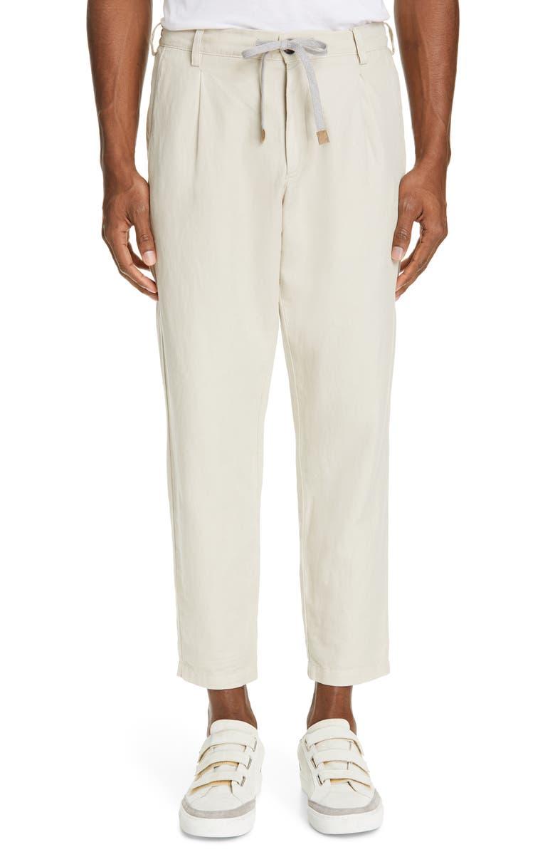ELEVENTY Pleated Cotton & Linen Jogger Pants, Main, color, SAND