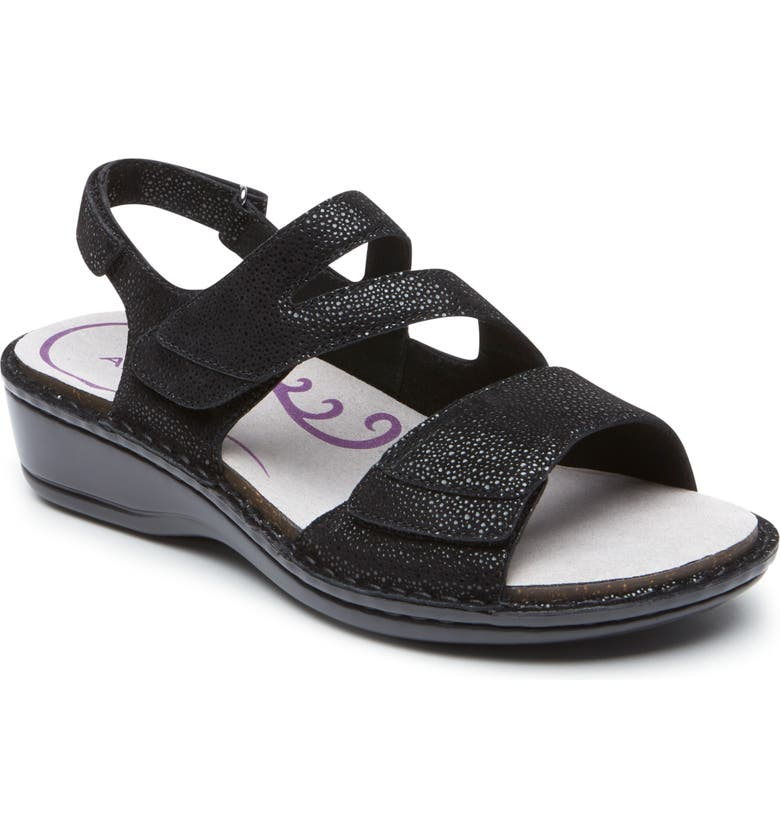 ARAVON Cambridge Slingback Sandal, Main, color, BLACK LEATHER