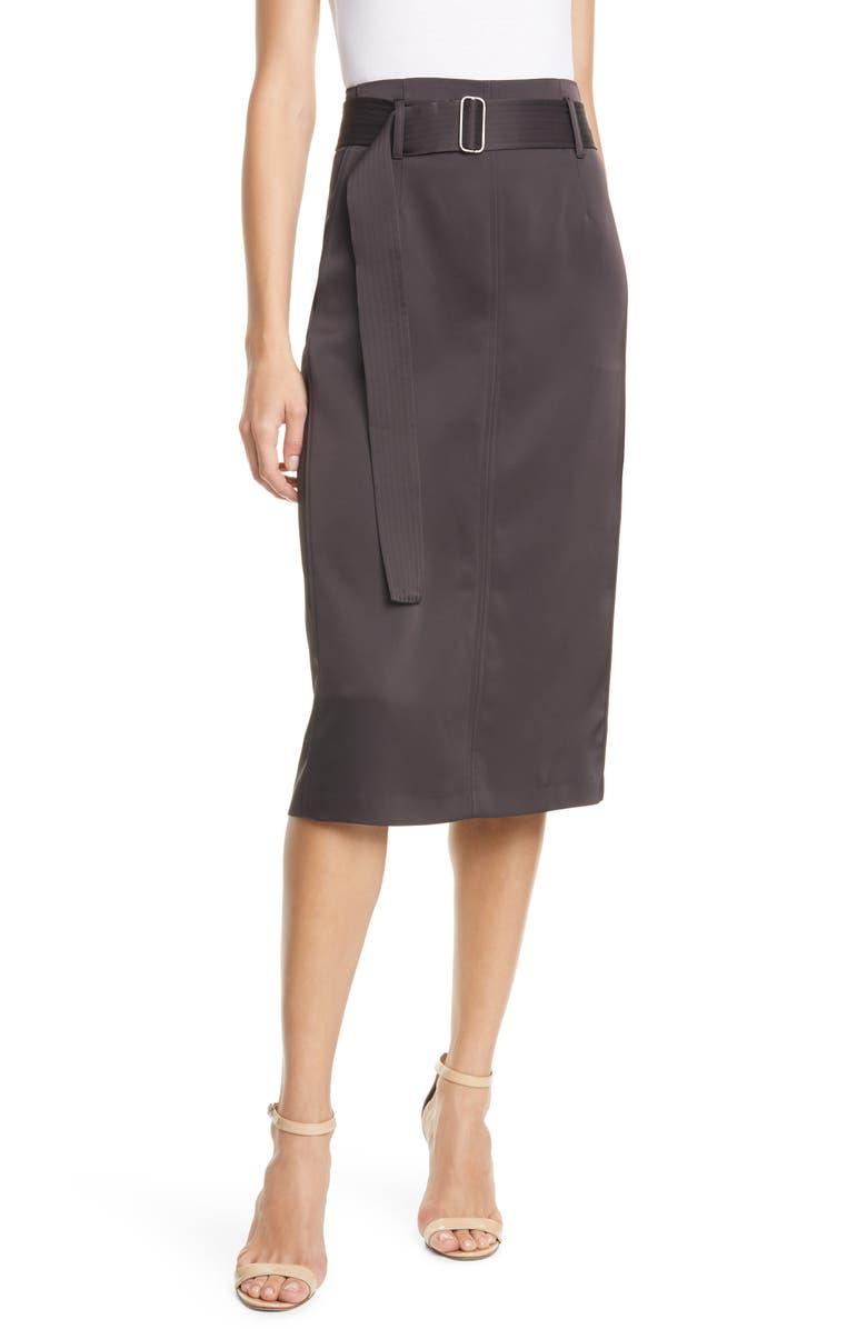 JUDITH & CHARLES Bella Belted Satin Pencil Skirt, Main, color, ESPRESSO