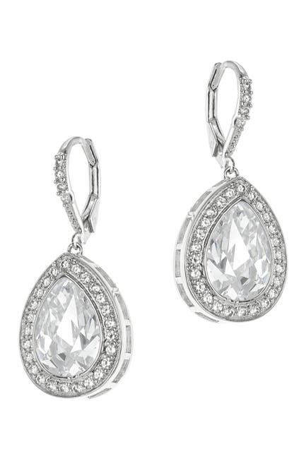Image of CZ By Kenneth Jay Lane Pear CZ Pave Borders Classic Earrings
