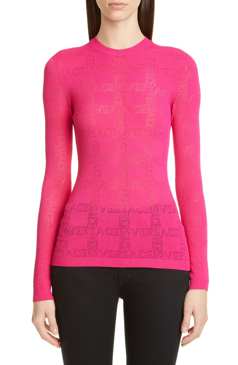 VERSACE Tattoo Logo Sweater, Main, color, PINK