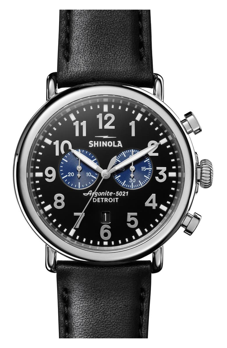 SHINOLA The Runwell Chrono Leather Strap Watch, 47mm, Main, color, NO_COLOR