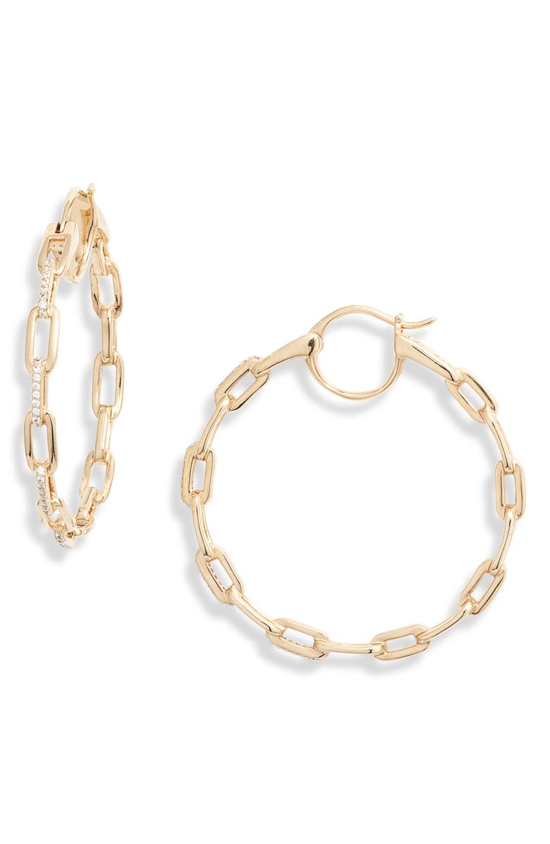NADRI Cubic Zirconia Links Hoop Earrings, Main, color, GOLD