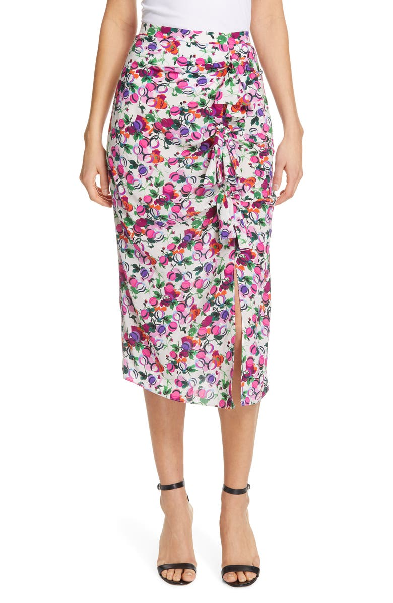 SALONI Kelly Floral Print Silk Skirt, Main, color, 100