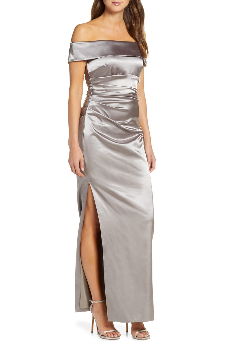 VINCE CAMUTO Off the Shoulder Gown, Main, color, TAUPE