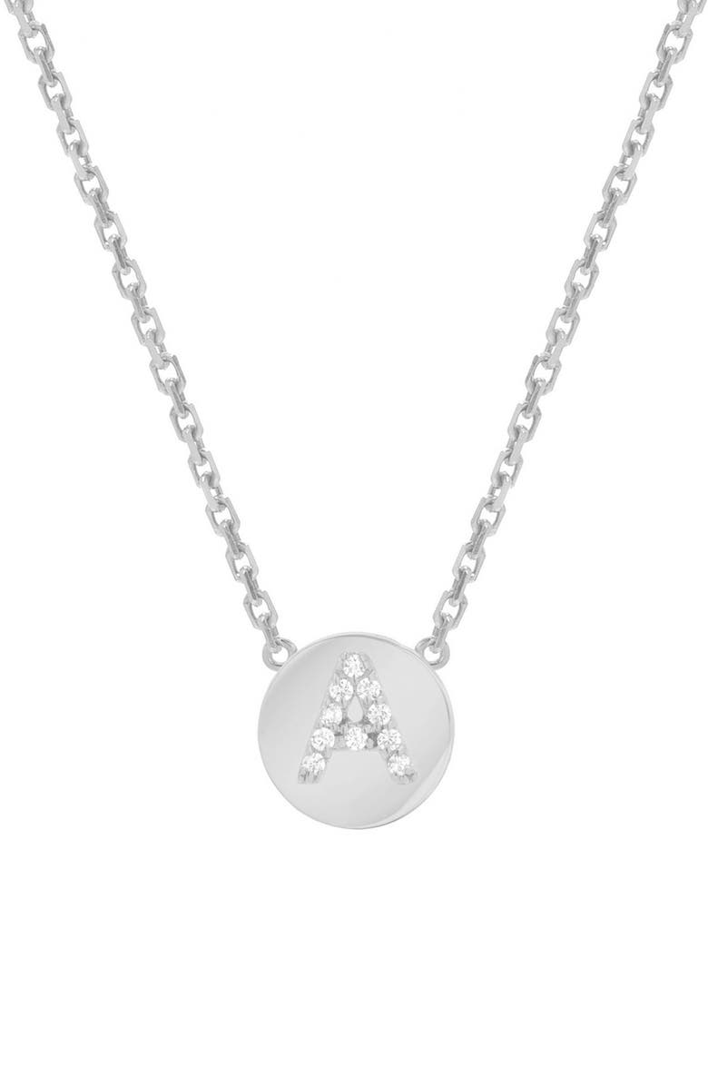 MINI MINI JEWELS Framed Diamond Initial Pendant Necklace, Main, color, WHITE GOLD-A