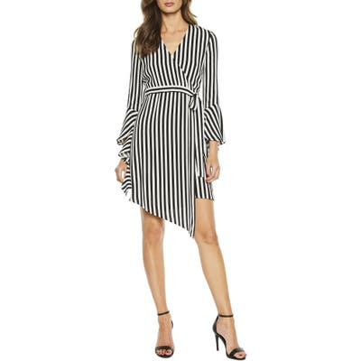 Bardot Stripe Asymmetrical Long Sleeve Faux Wrap Dress, Black