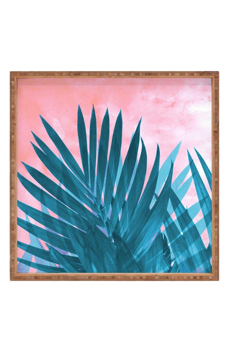 DENY DESIGNS Emanuela Carratoni - Palms Decorative Tray, Main, color, PINK