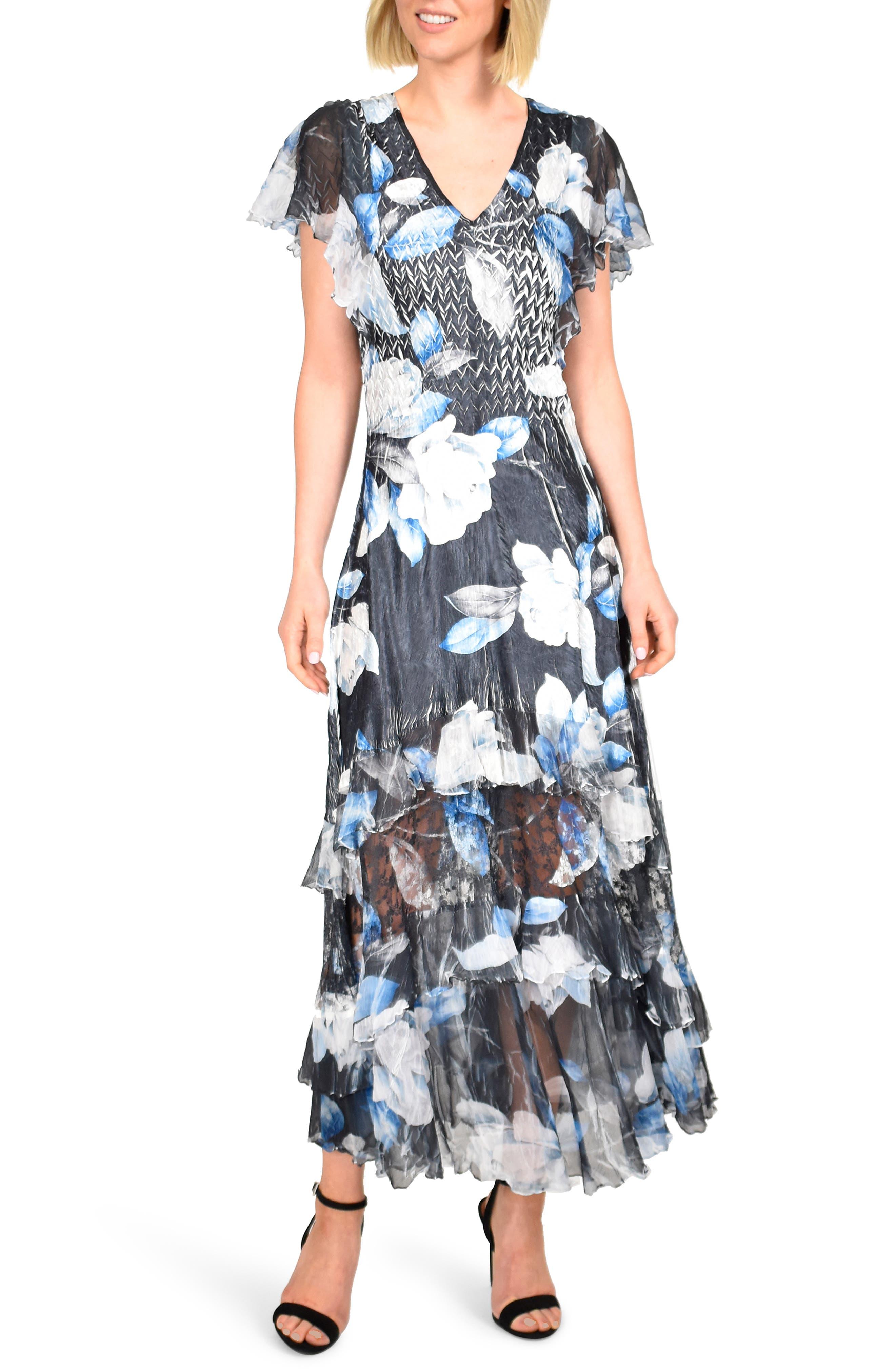Petite Komarov Tiered Hem Charmeause Maxi Dress, Blue