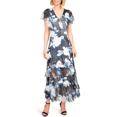 Petite Komarov Tiered Hem Charmeuse Maxi Dress, Blue