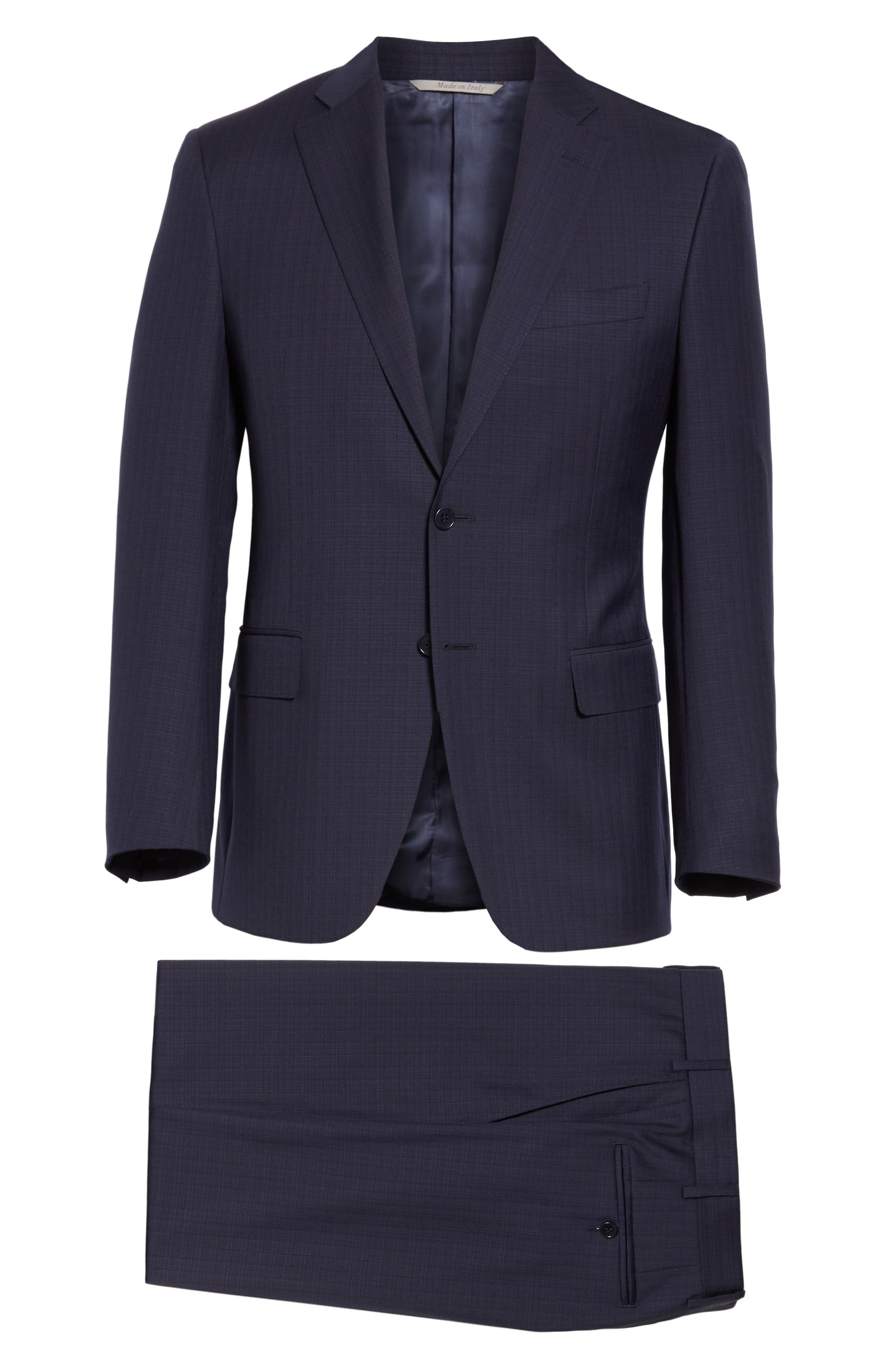 ,                             Siena Classic Fit Check Wool Suit,                             Alternate thumbnail 8, color,                             NAVY
