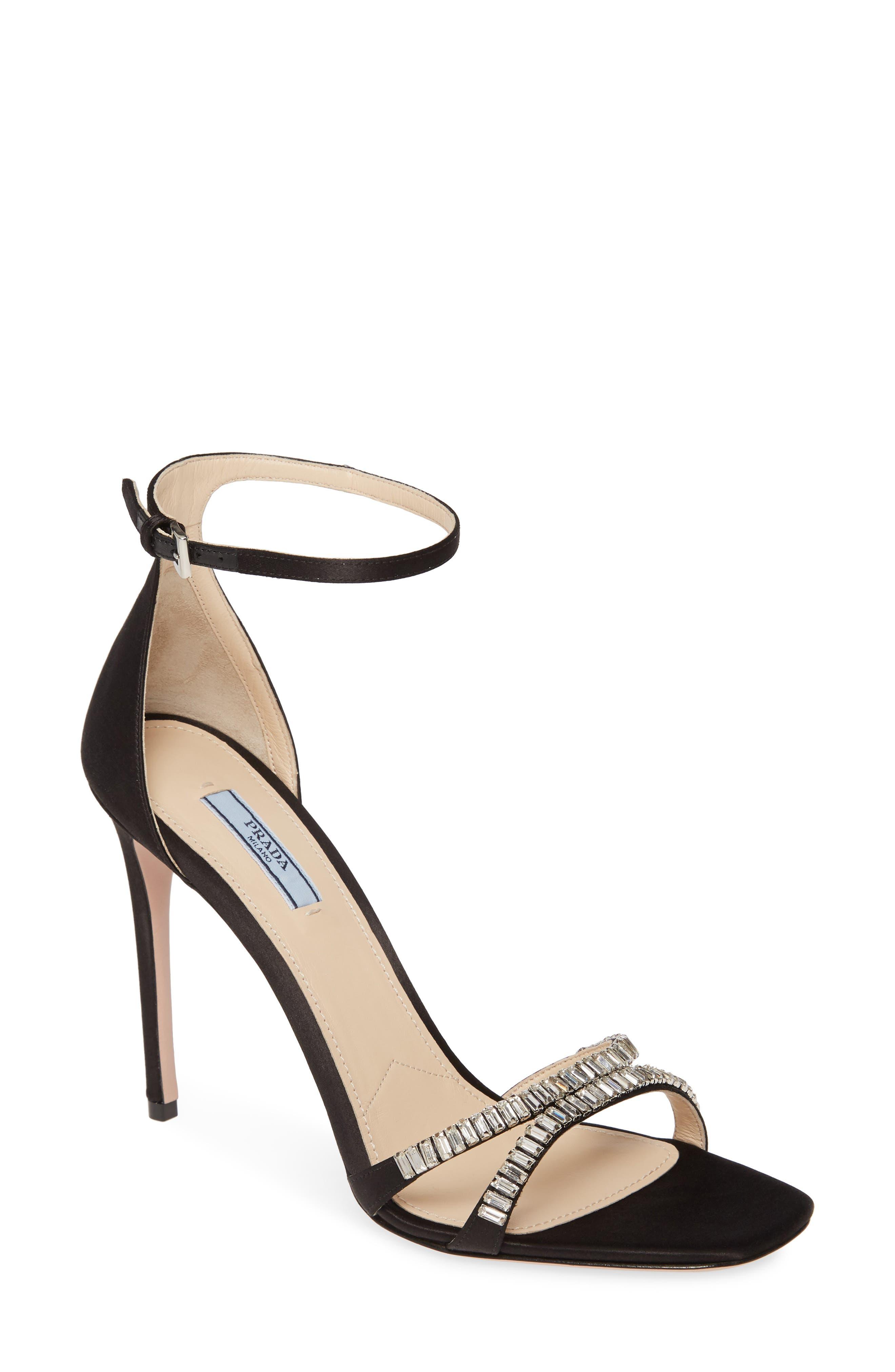 Prada Slippers Crystal Ankle Strap Stiletto Sandal