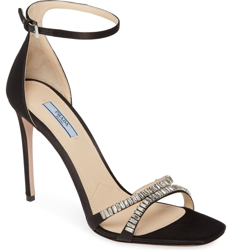 PRADA Crystal Ankle Strap Stiletto Sandal, Main, color, BLACK SATIN