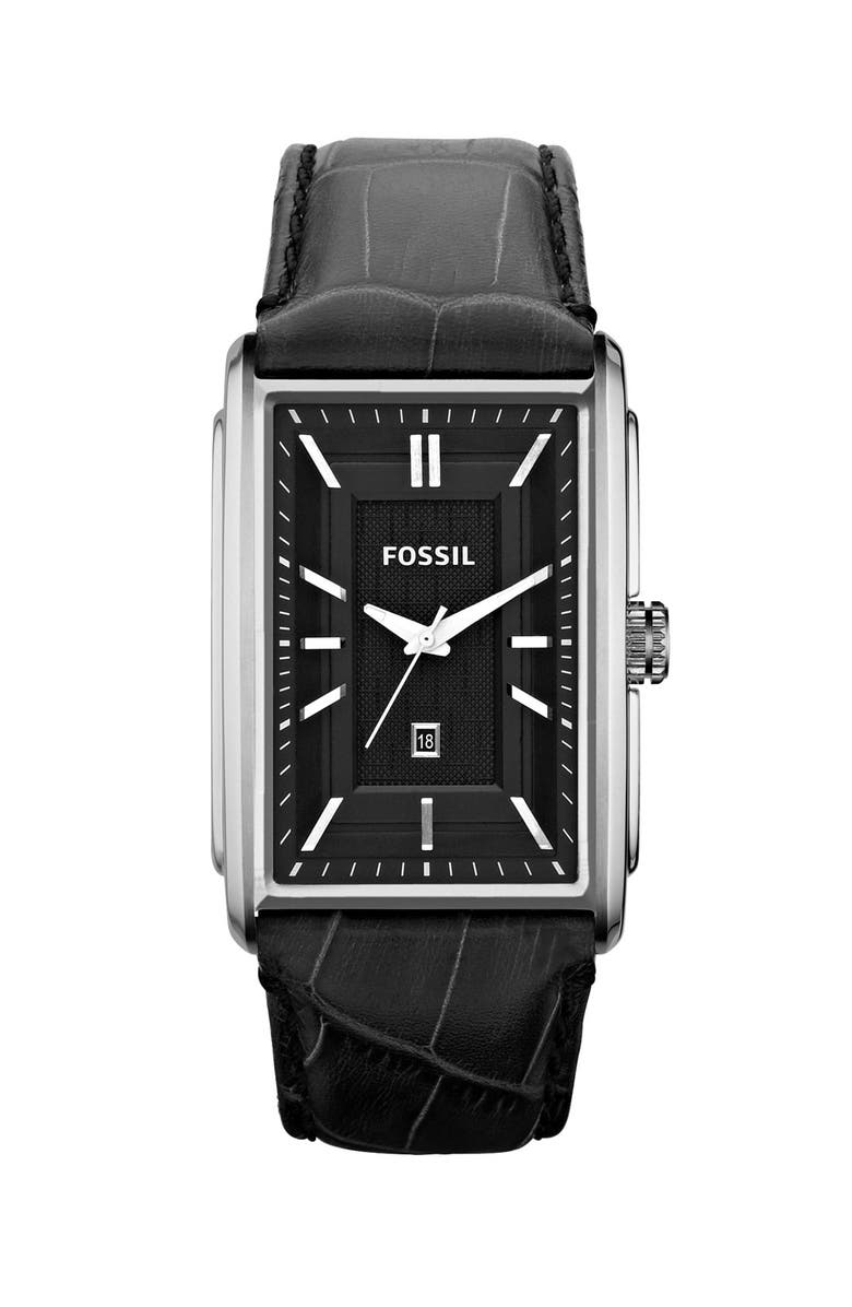 FOSSIL 'Truman' Rectangular Leather Strap Watch, 33mm x 49mm, Main, color, 001