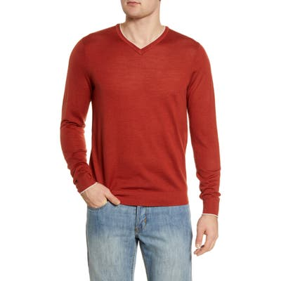 Nordstrom Signature Merino Wool Blend V-Neck Sweater, Brown